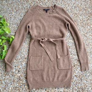 BCBGMazazria Tan Regina Sweater Tie Dress Small